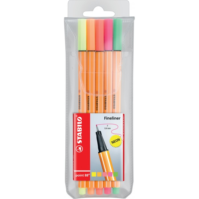 FINELINER POINT 88 NEON SET 5 PZ. STABILO  2672
