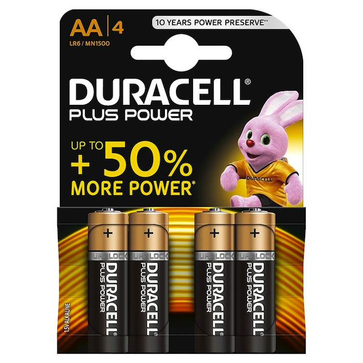 Duracell Plus Power Batterie Alcaline Stilo AA, BLISTER DA 4