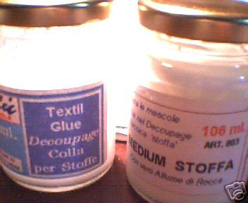 Decoupage per Stoffa: COLLA da 100ml + Medium da 100 ml.
