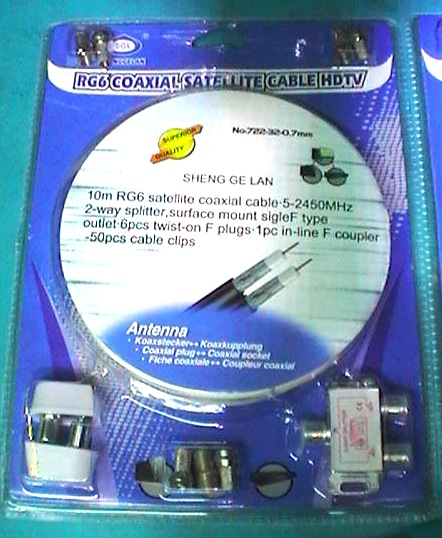 KIT ANTENNA TV CON RIPARTITORE 10 METRI Cavo innesti SAT TV