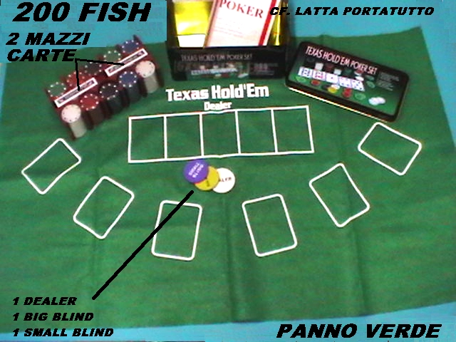 POKER SET professionale CON 200 FISH e PANNO