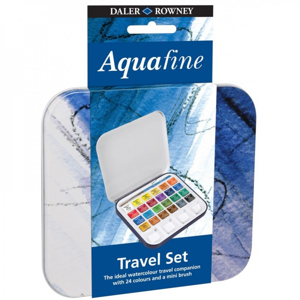 Set 24 godet (1/2) acquerello Aquafine LATTINA con pennello