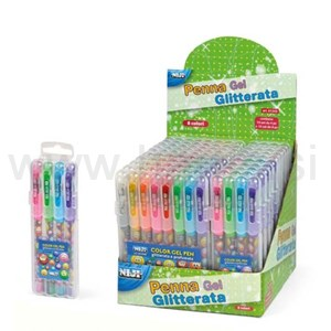 set 4 penne gel glitterate e profumate SMILE