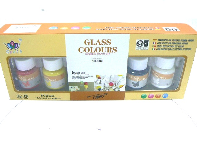 set 6 COLORI VETRO GLASS DA 25 ML.